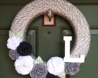Personalized Neutral Flower Wreath