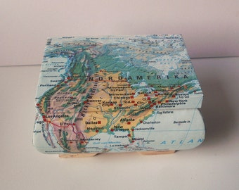 Wooden box with a map of a country of your choice, chest, decoupage, OOAK