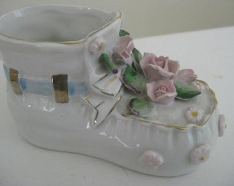 Vintage Baby Boot Planter, Nursery Planter, Baby Boy Shoe Baby Girl Shoe