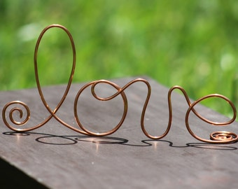 Copper Wire Love wedding Cake Toppers - Decoration - Beach wedding - Bridal Shower - Bride and Groom - Rustic Country Chic Wedding