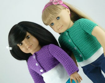 PDF CROCHET PATTERN - Classic Cardigan with Customizable Body and Sleeve Length- for American Girl Dolls - Instant Download