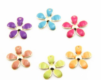 12 pcs of 6 colors of metal flower charm-20mm-MP1204-mixture colors