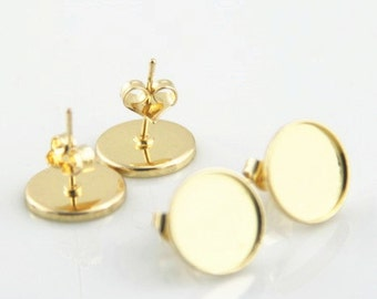 12pcs or 6 pairs of brass ear post for 12mm mounting setting-4521-18k gold