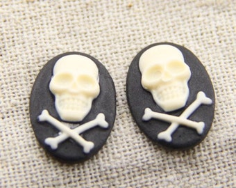 12 pcs of resin skull with bone cameo-13x18mm-rc0233
