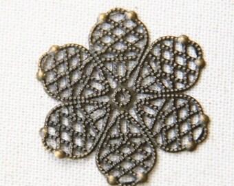 24 pcs of iron filigree 42mm-1628-antique bronze
