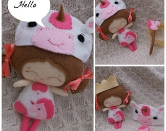 Felt Unicorn Collectable -  Handmade Baby Unicorn Princess Doll- Made To Order