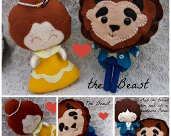 Handmade Felt Beauty & the Beast Collectable Doll Made to Order  Set