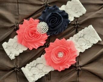 Wedding Garter Set, Bridal Garter Set - Ivory Lace Garter, Keepsake Garter Toss Garter, Navy & Coral Wedding Garter Navy Wedding Garter Belt