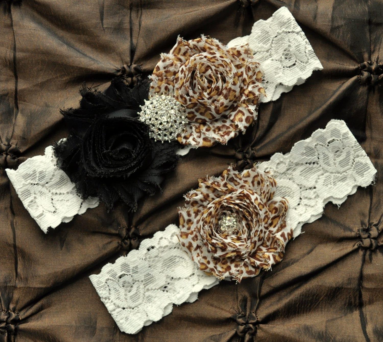 Leopard Wedding Garter Belt Bridal Set Ivory Lace