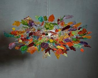 Hanging chandeliers - Light Fixtures Colorful flowers & leaves for dinning room or living room.