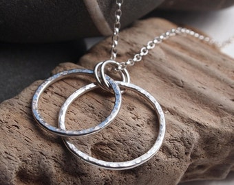 Sterling Silver Ring Pendant, silver rings necklace, hoop pendant, handmade sterling silver jewelry made in UK by ARC Jewellery