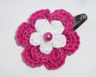1 Cerise and white crochet flower hair clip.