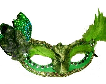 Poison Ivy Green Masquerade halloween Costume mask