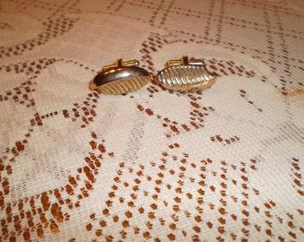 Vintage Two Patterned Goldtone Cuff LInks