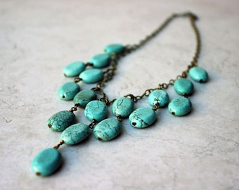 turquoise statement necklace - bohemian jewelry - SAVANNA necklace