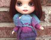 Blythe Knit  Sweater Set- Variegated Peacock Blue and Purple Sweater, Top and Skirt