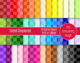 75% OFF Sale - 42 Digital Papers - Tinted Checkered - Instant Download - JPG 12x12 (DP146)