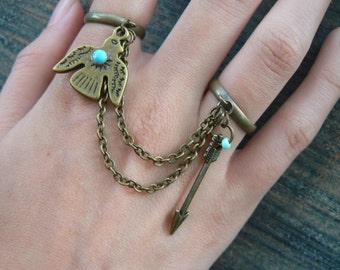 brass thunderbird and arrow double chained ring slave ring tribal fusion tribal native  hipster boho gypsy hippie and pirate  style