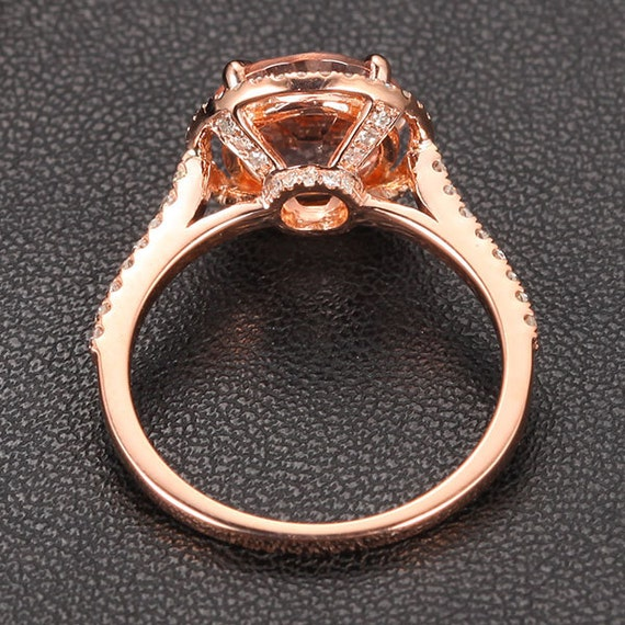 HALO 2.35ct Morganite .32ct Diamond Claw Prongs Solid 14K Rose Gold Wedding Ring