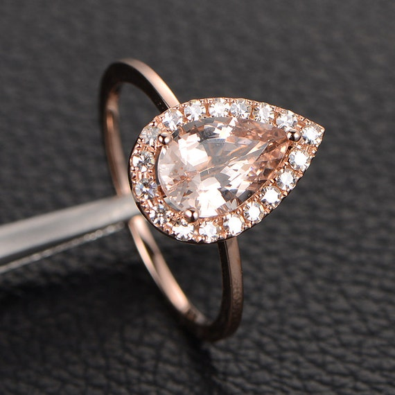 VVS Morganite Engagement Ring with VS Moissanite,Halo Pear Cut,14K Rose Gold