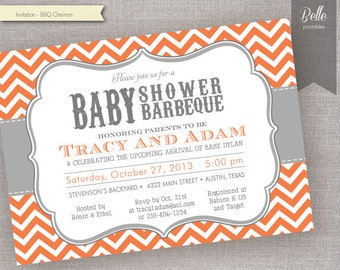 Chevron Orange BBQ Baby Shower invitation - DIY Printable - Backyard BBQ