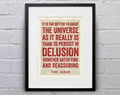 It Is Far Better To Grasp The Universe As It Really Is / Carl Sagan - Inspirational Quote Dictionary Page Print - DPQU055