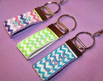 Personalized Mini Key Fobs, Monogrammed Key Fobs,  Mini Key Fobs, Luggage Tags, Backpack Tags, Zipper Pulls