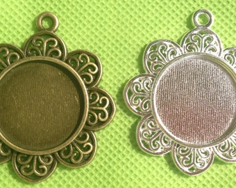 25mm Pendant Tray Circle Pendant Blank 25mm Cameo Base Setting, fit 25mm image - 50pcs Mix and Match Antique Silver and Antique brass