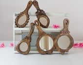 5 Wooden Hand Mirrors: Lot Vintage Mirror Collection, Vanity Mirror, Wall Hanging / Carved Wood Table Mirror