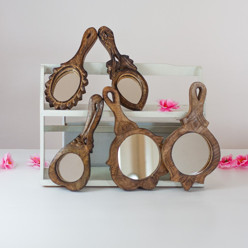 5 Wooden Hand Mirrors Lot Vintage Mirror Collection Vanity