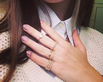 Timeless Ring - gold filled pave ring, crystal gold ring, gold paved ring, CZ paved ring,