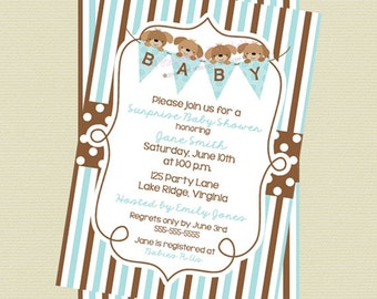 Printable Blue Puppy Shower Invitation