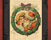 christmas wreath wall art print, santa claus decor, antique christmas decorations