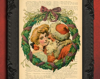 christmas wreath wall art print, santa claus decor, antique christmas decorations