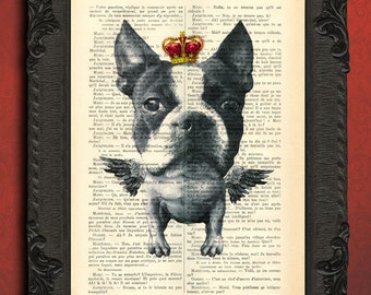 dog with wings, flying boston terrier print, dog art, bull terrier king poster, dog with crown, dog artwork, dog art