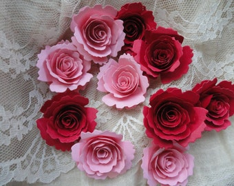 Red and Pink Handmade Paper Flowers Set of 10