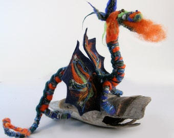 Needle felted dragon saffron, blue with silver yarn bling. Dragon doll 22 inches long, Swarovski crystal embellishment. Posable!
