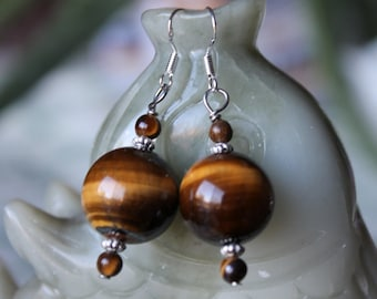 Yellow Round Tiger Eye Earrings, sterling silver hook