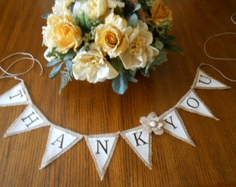 Small Burlap and Canvas Thank You Banner