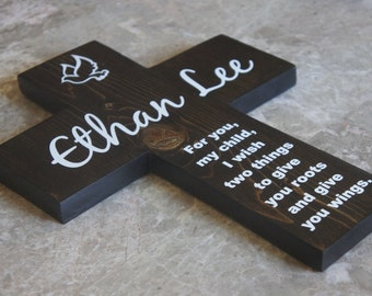 Boys Baptism Gift Personalized  Cross with Dove and Quote Poem Gift Girl 9X12 shown in Dark Stain White Vinyl Lettering