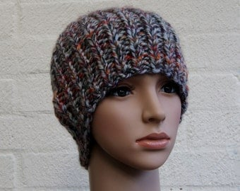 Chunky knit men's sock hat in Autumn colours, Knitted Beanie,knit hat,Sock Hat