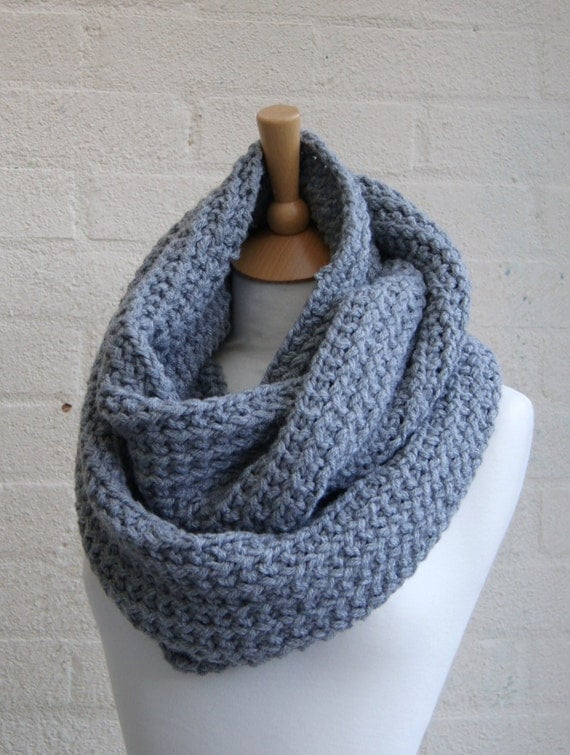 Knitting Pattern For Beanies : Chunky Knit gray infinity scarf Knitted grey by StripesnCables