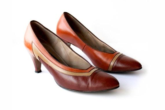 Classic Vintage Heels in Bronze, Brown, and Tan