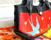 Rockabilly Leather Bag small purse red black handmade swallow stars