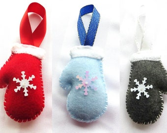 Felt Christmas Ornaments - Mitten with Snowflake (Various Colors)