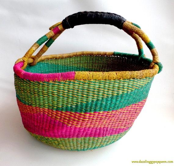 Handmade Ghana Baskets : Elephant grass basket hand made in ghana picnic