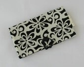 30% OFF SALE Women's Wallet, Checkbook Wallet, Black and White Floral Print Women's Checkbook Style Wallet