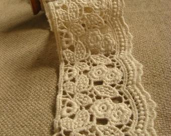 natural cotton lace trim, retro lace trim, ecru crochet lace trim, CMSR004M