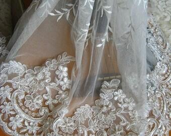 pearl beaded lace trim, bridal lace trim, ivory alencon lace trim, scollaped lace trim, sequined wedding trim lace, vintage lace trim, sale