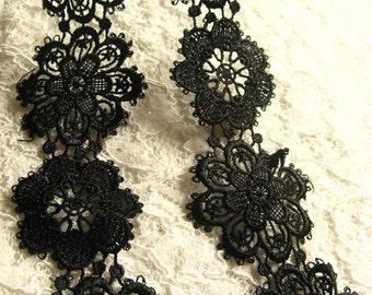 black lace, black venise lace trim, Vintage Venice Lace, Antique Floral Lace